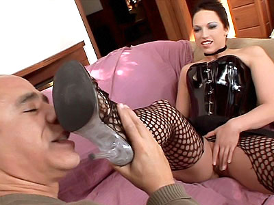Nicki Hunter in sexy stockings and leather bustier what more could you ask for Shes a slutty wife that likes to cheat on her husband She gets a grateful stud to worship her stocking clad legs and feet before she offers the main dish