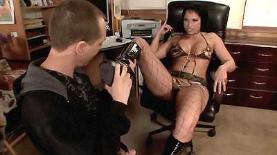 Pornstar in Stocking Performs Footjob