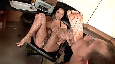 Theres nothing like seeing a hot chick in fishnet stockings Nicki Hunter is one nasty chick that loves to tease She puts on her pair of fishnet stockings and calls up a foot worshiper into her office to tease him and indulge his love for licking her toes and soft soles
